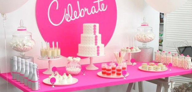 neon pink celebrate themed birthday party via Kara's Party Ideas KarasPartyIdeas.com
