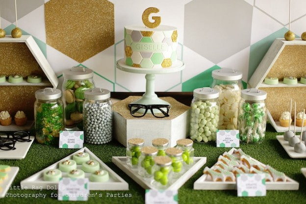 Geometric Green, Gold, and Grey Themed Birthday Party with So Many Fabulous Ideas via Kara's Party Ideas Kara Allen KarasPartyIdeas.com #shapeparty #genderneutralparty #hexagoncake #partyideas (18)