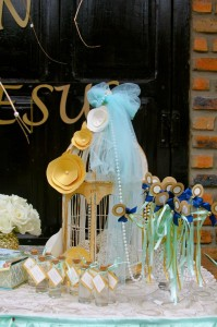 Gold and Mint Baptism with So Many Beautiful Ideas via Kara's Party Ideas | KarasPartyIdeas.com #GoldAndMintParty #BaptismDessertTable #BaptismIdeas #PartyIdeas #Supplies (9)