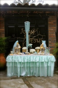Gold and Mint Baptism with So Many Beautiful Ideas via Kara's Party Ideas | KarasPartyIdeas.com #GoldAndMintParty #BaptismDessertTable #BaptismIdeas #PartyIdeas #Supplies (4)