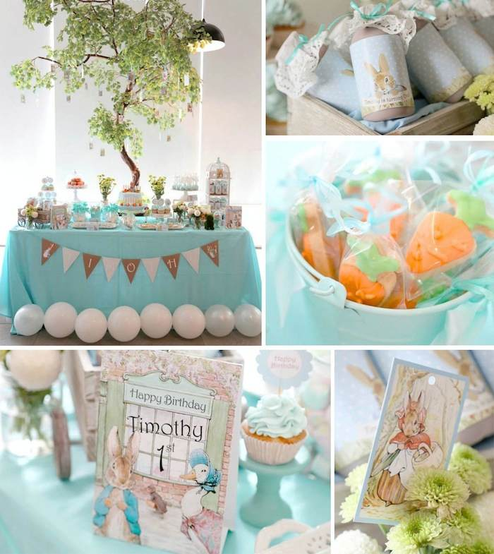 Kara 39 s party ideas peter rabbit themed 1st birthday party for Baby shower decoration stores