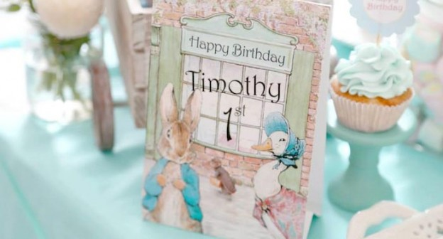 Peter Rabbit Themed 1st Birthday Party with Full of Really Cute Ideas via Kara's Party Ideas | KarasPartyIdeas.com #PeterRabbit #BeatrixPotter #PartyIdeas #Supplies (1)