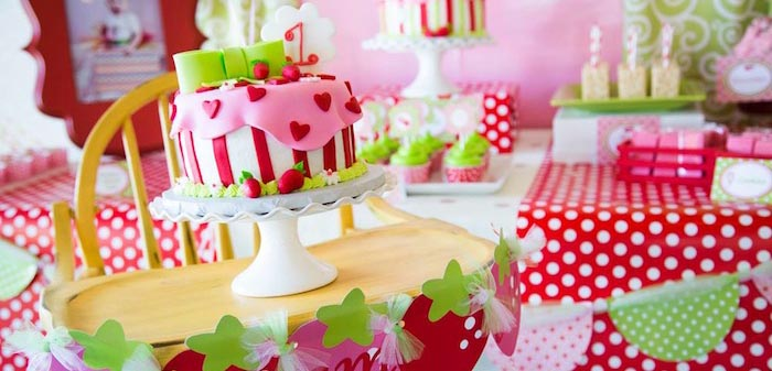 Karas Party Ideas Strawberry Shortcake Themed First Birthday Party
