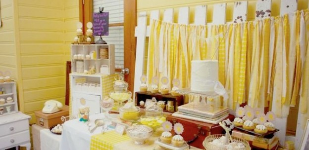 yellow vintage baby shower via Kara's PArty Ideas KarasPartyIdeas.com Kara Allen