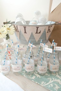 Cookies and Milk Birthday Party Baby Shower ideas via KarasPartyIdeas.com #milkandcookies #babyboyshower #partyideas #decor (5)