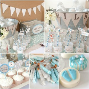 Cookies and Milk Birthday Party Baby Shower ideas via KarasPartyIdeas.com #milkandcookies #babyboyshower #partyideas #decor (15)