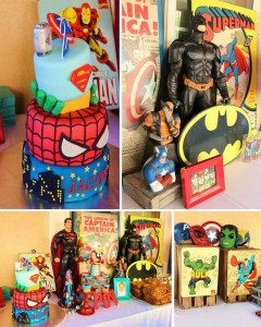 Vintage Superhero themed birthday party with So Many Really Cute Ideas via Kara's Party Ideas KarasPartyIdeas.com #superheroparty #vintagesuperhero #partydecor #partyideas1