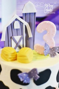 Purple Farm Party (3-I-E-I-O) with lots of Really Cute Ideas via Kara's Party Ideas Kara Allen KarasPartyIdeas.com #girlyfarmparty #westernparty #farmcake #partyideas (7)