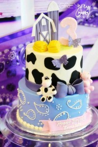 Purple Farm Party (3-I-E-I-O) with lots of Really Cute Ideas via Kara's Party Ideas Kara Allen KarasPartyIdeas.com #girlyfarmparty #westernparty #farmcake #partyideas (5)