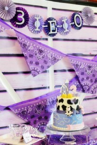 Purple Farm Party (3-I-E-I-O) with lots of Really Cute Ideas via Kara's Party Ideas Kara Allen KarasPartyIdeas.com #girlyfarmparty #westernparty #farmcake #partyideas (2)