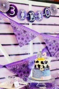 Purple Farm Party (3-I-E-I-O) with lots of Really Cute Ideas via Kara's Party Ideas Kara Allen KarasPartyIdeas.com #girlyfarmparty #westernparty #farmcake #partyideas (2)