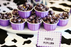 Purple Farm Party (3-I-E-I-O) with lots of Really Cute Ideas via Kara's Party Ideas Kara Allen KarasPartyIdeas.com #girlyfarmparty #westernparty #farmcake #partyideas (20)