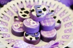 Purple Farm Party (3-I-E-I-O) with lots of Really Cute Ideas via Kara's Party Ideas Kara Allen KarasPartyIdeas.com #girlyfarmparty #westernparty #farmcake #partyideas (18)
