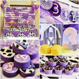 Purple Farm Party (3-I-E-I-O) with lots of Really Cute Ideas via Kara's Party Ideas Kara Allen KarasPartyIdeas.com #girlyfarmparty #westernparty #farmcake #partyideas (27)