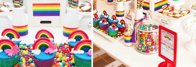 rainbow themed birthday party via Kara's Party Ideas
