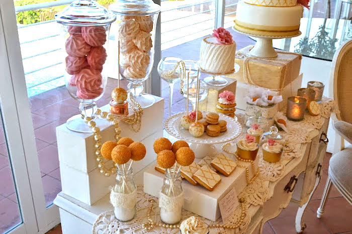 Kara 39 s party ideas pink and gold romantic wedding dessert for Table 52 dessert