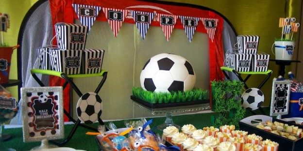 Soccer themed birthday party with Lots of Awesome Ideas via Kara's Party Ideas Kara Allen KarasPartyIdeas.com #soccerparty #soccercake #sportsparty #fifthbirthday #boyparty #partyideas (1)