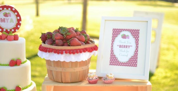 Strawberry Picnic Party with REALLY CUTE IDEAS via Kara's Party Ideas | KarasPartyIdeas.com #strawberrysoiree #berrybash #strawberrycake #partyideas (1)