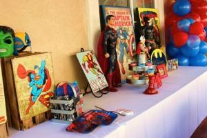 Vintage Superhero themed birthday party with SUPER AWESOME IDEAS via Kara's Party Ideas   KarasPartyIdeas.com #vintageboyparties #supeheroes #superheroparty #supeherocake #partydecor #partyideas (9)