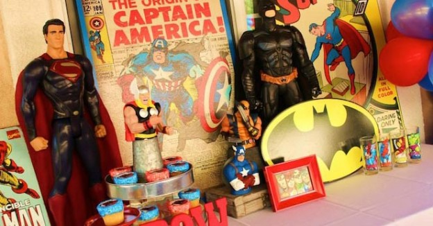 Vintage Superhero themed birthday party with SUPER AWESOME IDEAS via Kara's Party Ideas | KarasPartyIdeas.com #vintageboyparties #supeheroes #superheroparty #supeherocake #partydecor #partyideas (1)
