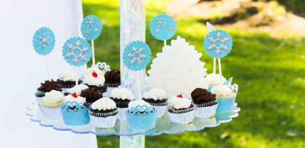 frozen themed birthday party planning and decorations and cupcakes via kara's party ideas karaspartyideas.com