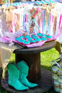 Vintage Cowgirl themed birthday party with Lots of Really Cute Ideas via Kara's Party Ideas | Cake, decor, cupcakes, games and more! KarasPartyIdeas.com #cowgirlparty #westernparty #partyideas #partydecor (17)