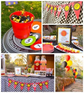 Race Car themed birthday party with Such Cute Ideas via Kara's Party Ideas | Cake, decor, cupcakes, games and more! KarasPartyIdeas.com #racecarparty #partyideas #carparty (2)