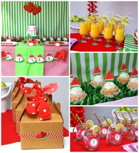 Strawberry and Watermelon themed birthday party with SUCH CUTE IDEAS via Kara's Party Ideas | Cake, decor, cupcakes, games and more! KarasPartyIdeas.com #strawberryparty #watermelonparty #strawberrysoiree #summersoiree #summerparty #partyideas #partydecor (24)