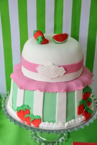 Strawberry and Watermelon themed birthday party with SUCH CUTE IDEAS via Kara's Party Ideas | Cake, decor, cupcakes, games and more! KarasPartyIdeas.com #strawberryparty #watermelonparty #strawberrysoiree #summersoiree #summerparty #partyideas #partydecor (11)