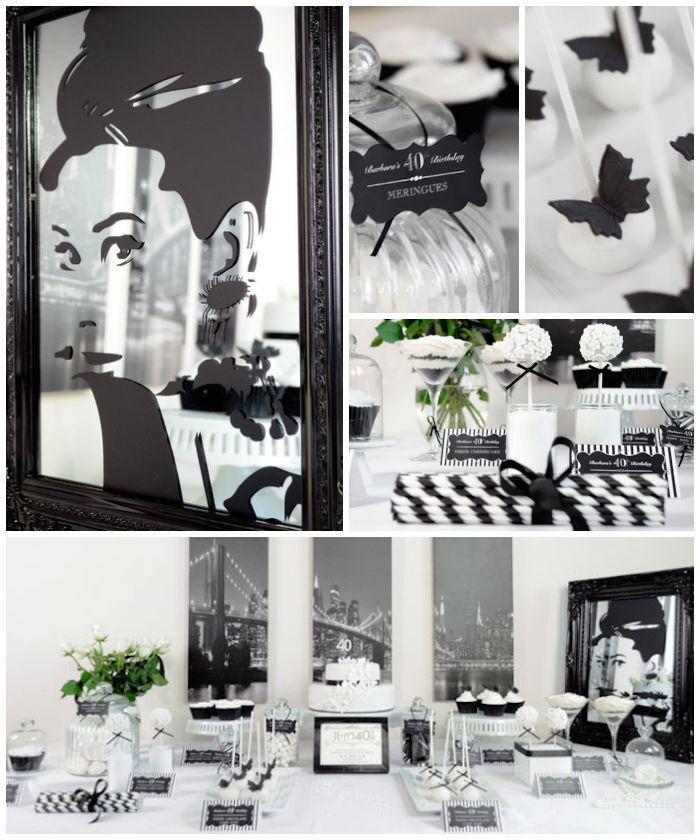 Kara s Party Ideas Stylish Black and White 40th Birthday