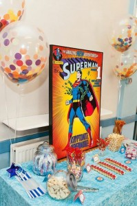 Vintage Superhero themed birthday party with Lots of Awesome Ideas via Kara's Party Ideas KarasPartyIdeas.com #superheroparty #vintagesuperhero #boybirthdayparty #partyideas #partydecor (13)