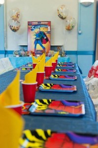 Vintage Superhero themed birthday party with Lots of Awesome Ideas via Kara's Party Ideas KarasPartyIdeas.com #superheroparty #vintagesuperhero #boybirthdayparty #partyideas #partydecor (6)