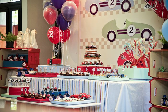 Karas Party Ideas Vintage Race Car themed birthday party via