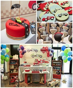 Vintage Race Car themed birthday party with Such Cute Ideas via Kara's Party Ideas Kara's Party Ideas | Cake, decor, cupcakes, games and more! KarasPartyIdeas.com #racecarparty #racecar #carparty #partyideas (1)