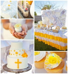 Yellow and White First Communion Party with Lots of Really Pretty Ideas via Kara's Party Ideas KarasPartyIdeas.com #firstcommunion #communionpartyideas #firstcommunionparty #partydecor #partyplanning #genderneutral (2)