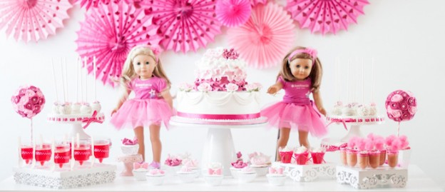 American Girl Doll 9th birthday party with via Kara's Party Ideas | Cake, decor, cupcakes, games and more! KarasPartyIdeas.com #americangirldoll #girlyparty #pinkparty (1)