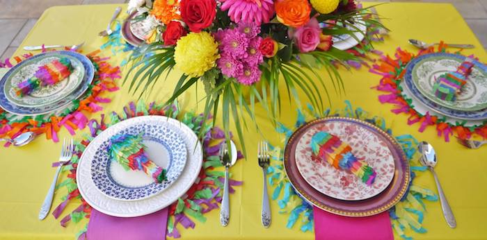 Colorful Fiesta Mexican themed birthday party Full of Fun Ideas via Karau0027s Party Ideas : mexican table setting - pezcame.com