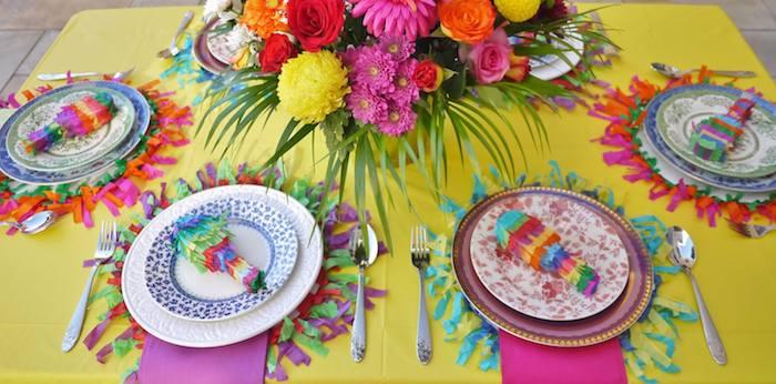 Colorful Fiesta Mexican themed birthday party Full of Fun Ideas via Karau0027s Party Ideas & mexican table setting ideas u2013 Loris Decoration