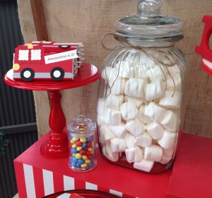 Vintage Fire Truck themed birthday party with such cute ideas via Kara' s Party Ideas KarasPartyIdeas.com #firetruckparty #firetruck #fireman #firemanparty #partyideas (10)