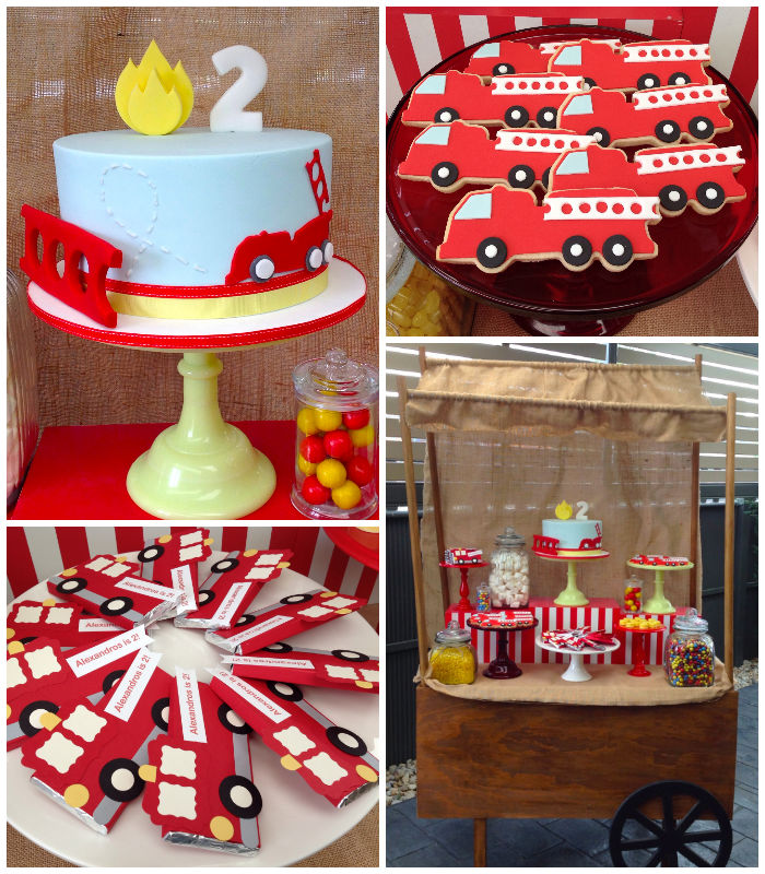 Kara's Party Ideas Vintage Fire Truck Themed Birthday