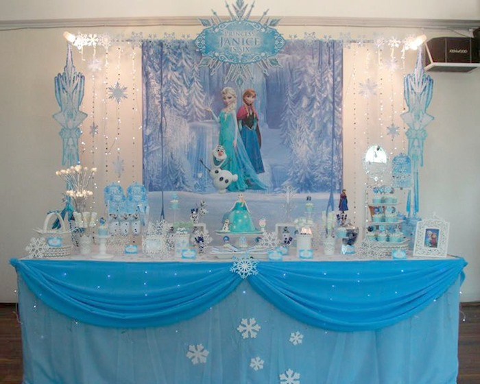 Disneys Frozen Themed Birthday Party Via Karas Ideas Full Of Decorating Dessert