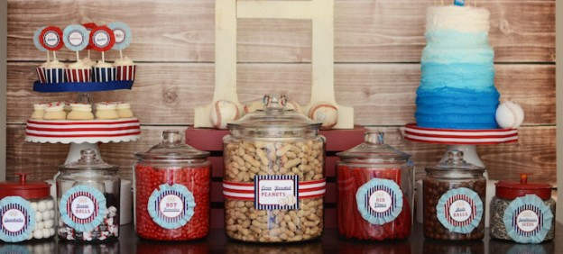 Home-ONE + Baseball themed birthday party with So Many Fabulous Ideas via Kara's Party Ideas | Cake, decor, cupcakes, games and more! KarasPartyIdeas.com #baseballparty #baseball #firstbirthdayparty #partyideas #partydecor #takemeouttotheballgame (1)