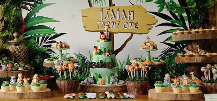Jungle Themed Wedding Cake