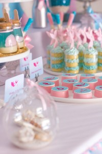Mermaid in the Ocean themed birthday party with So Many CUTE IDEAS via Kara's Party Ideas Kara's Party Ideas | Cake, decor, cupcakes, games and more! KarasPartyIdeas.com #mermaid #mermaidparty #mermaidcake #underthedsea #oceanparty #mermaidpartyideas #partydecor (5)