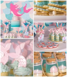 Mermaid in the Ocean themed birthday party with So Many CUTE IDEAS via Kara's Party Ideas Kara's Party Ideas | Cake, decor, cupcakes, games and more! KarasPartyIdeas.com #mermaid #mermaidparty #mermaidcake #underthedsea #oceanparty #mermaidpartyideas #partydecor (2)
