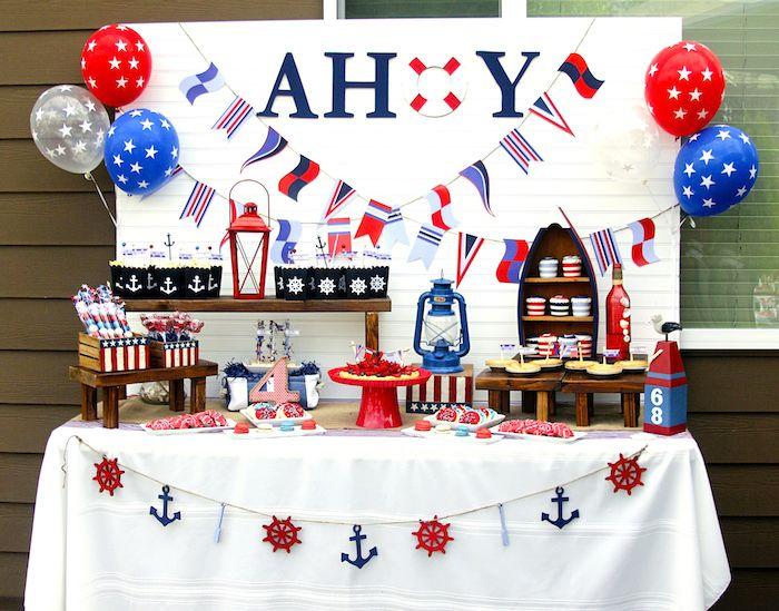Charming Nautical Themed Birthday Party Supplies Part - 2: Nautical Themed 4th Of July Party With Such Darling Ideas Via Karau0027s Party  Ideas! Full