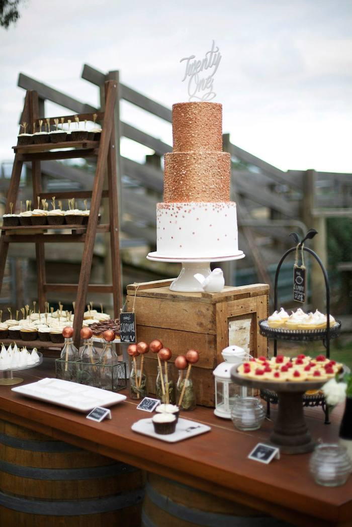 Kara 39 s party ideas rustic gold and bronze 21st birthday for 21st birthday decoration ideas