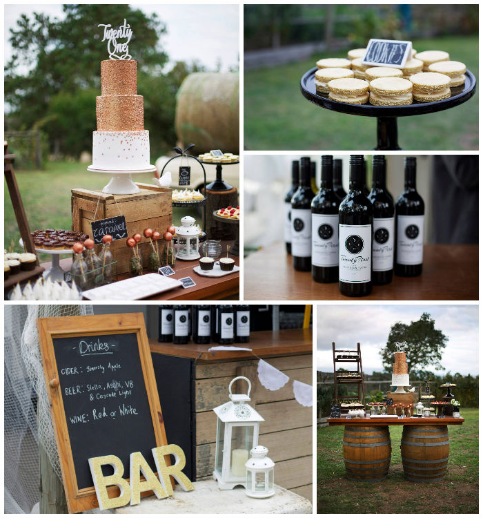 Kara's Party Ideas Rustic Gold and Bronze 21st Birthday