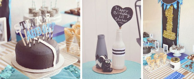 Skunk themed birthday party with So Many Fun Ideas via Kara's Party Ideas Kara's Party Ideas | Cake, decor, cupcakes, games and more! KarasPartyIdeas.com #skunkparty #skunk #boyparty #partyideas #partydecor (1)