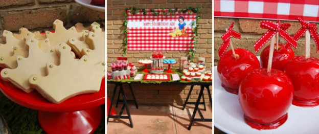 Snow White themed birthday party with Such Fun Ideas via Kara's Party Ideas | Cake, decor, cupcakes, games and more! KarasPartyIdeas.com #snowwhiteparty #snowwhite #disneyprincessparty #partyideas (1)
